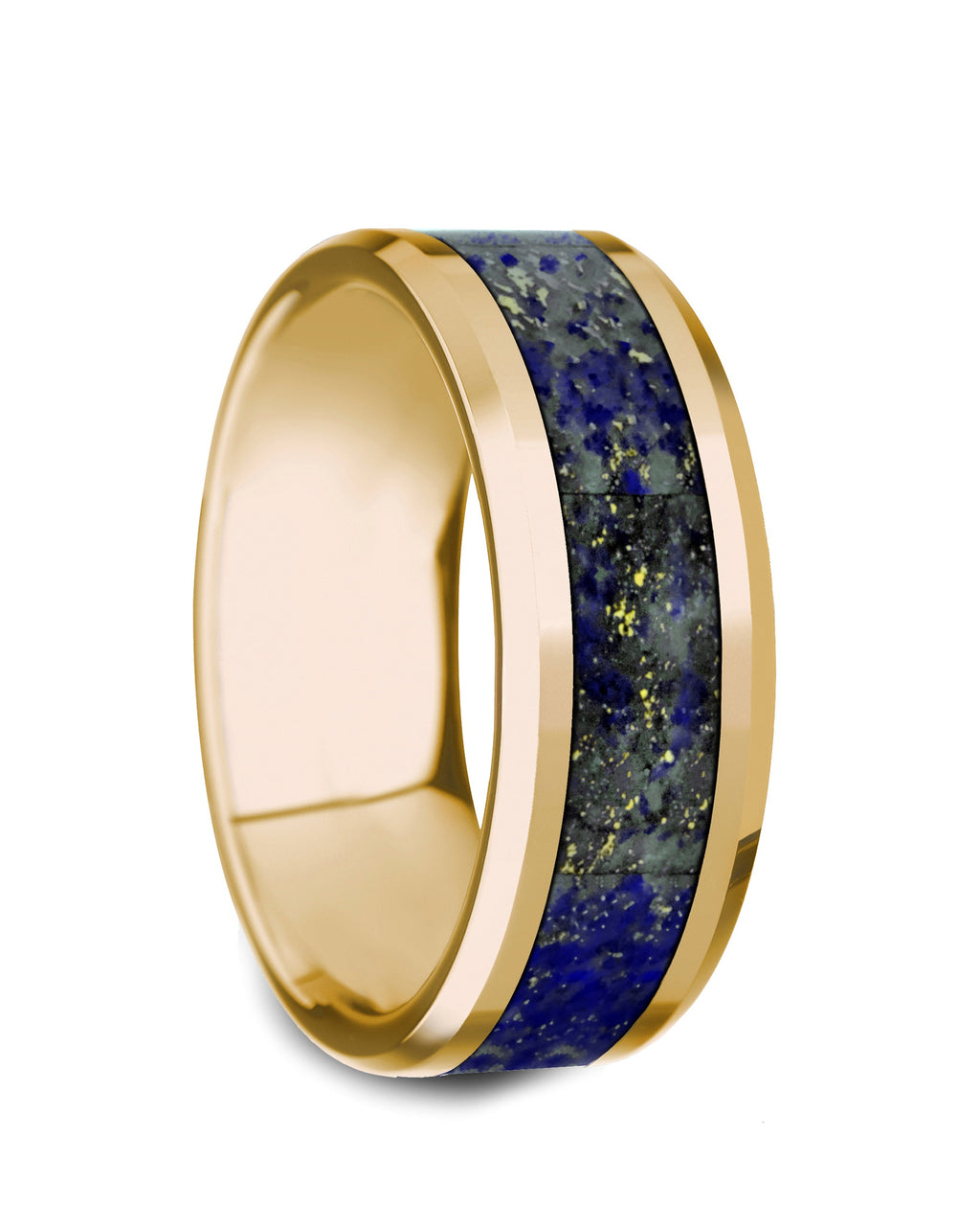 REMY    Polished 14K Yellow Gold with Blue Lapis Lazuli Inlay & Beveled Edges    |    8mm - TCRings.com
