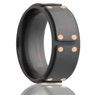 RIVETTO    Step edged Milled Zirconium Band with Satin Finish & 14k Rose Gold Inlays    |    8mm - TCRings.com