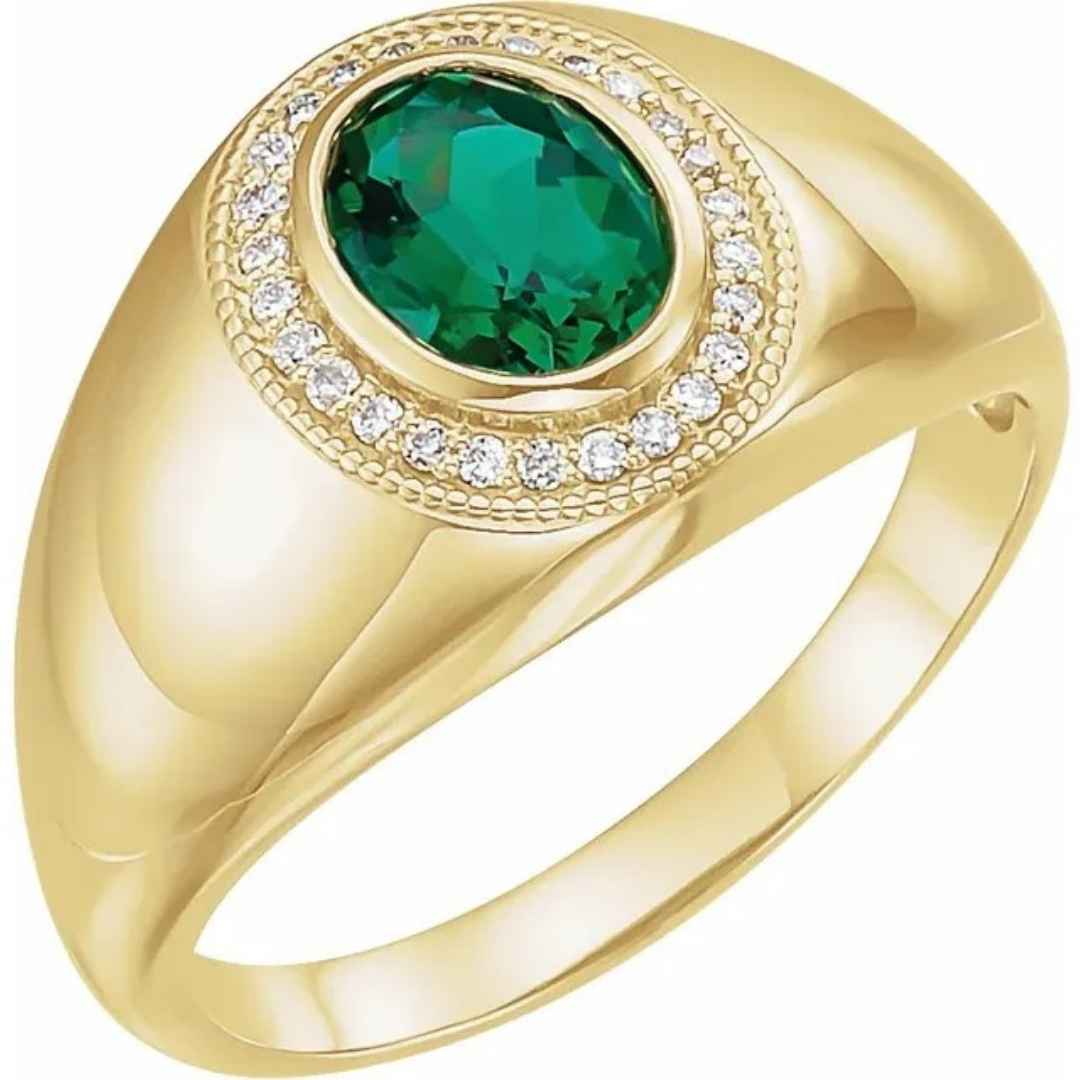 Men's 14K yellow gold emerald wedding ring