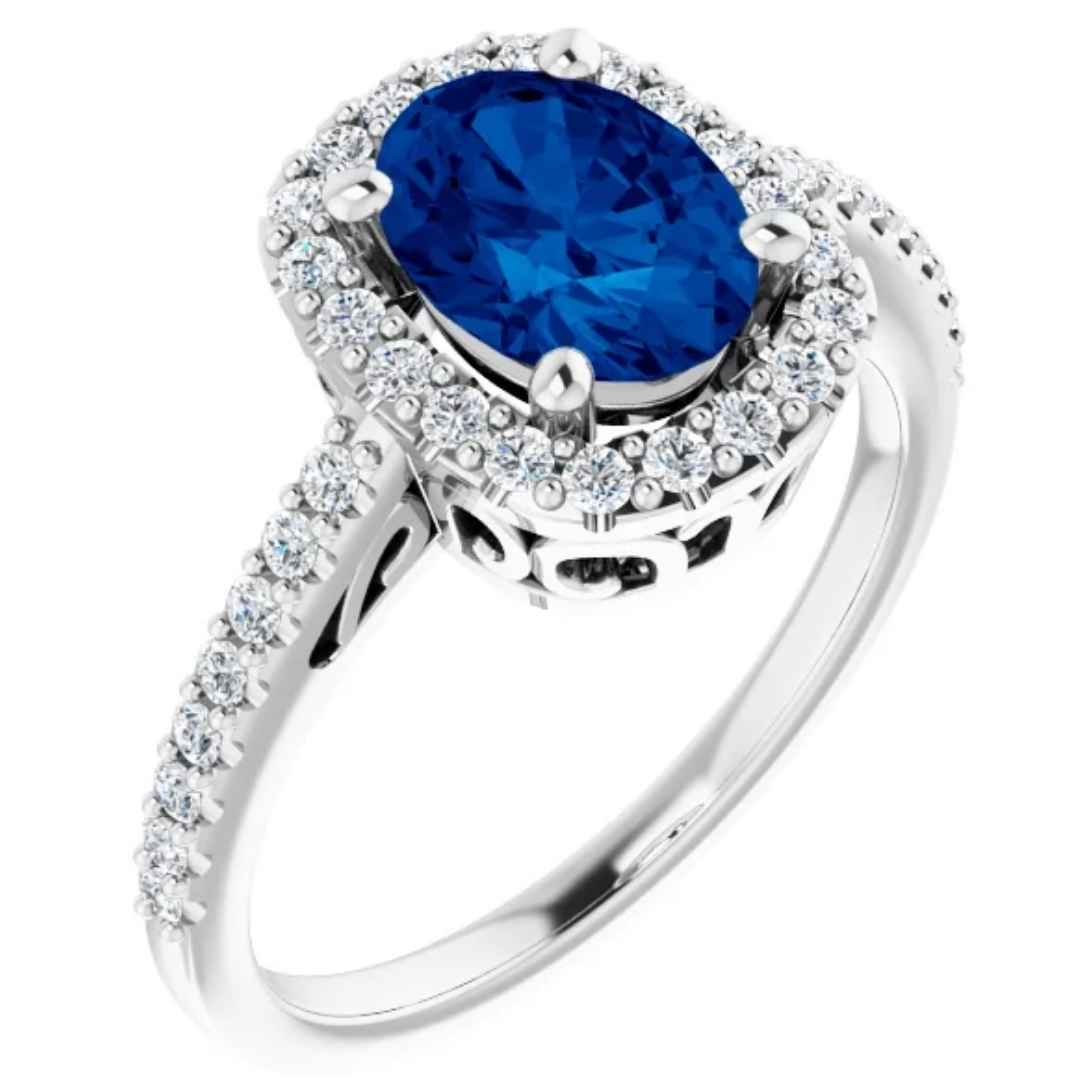 Women's 14K white gold lab created blue sapphire engagement ring