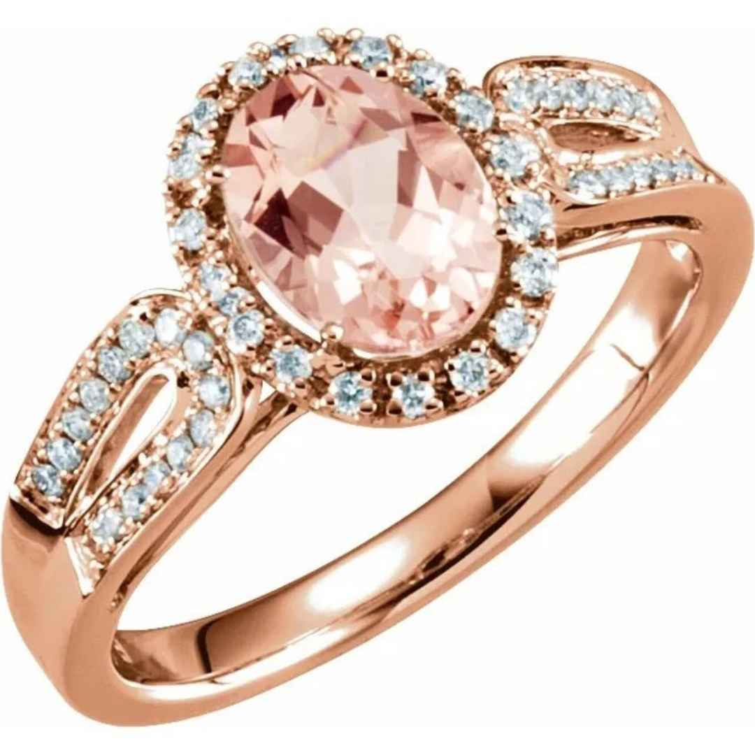 Women's 14K gold halo oval morganite engagement ring