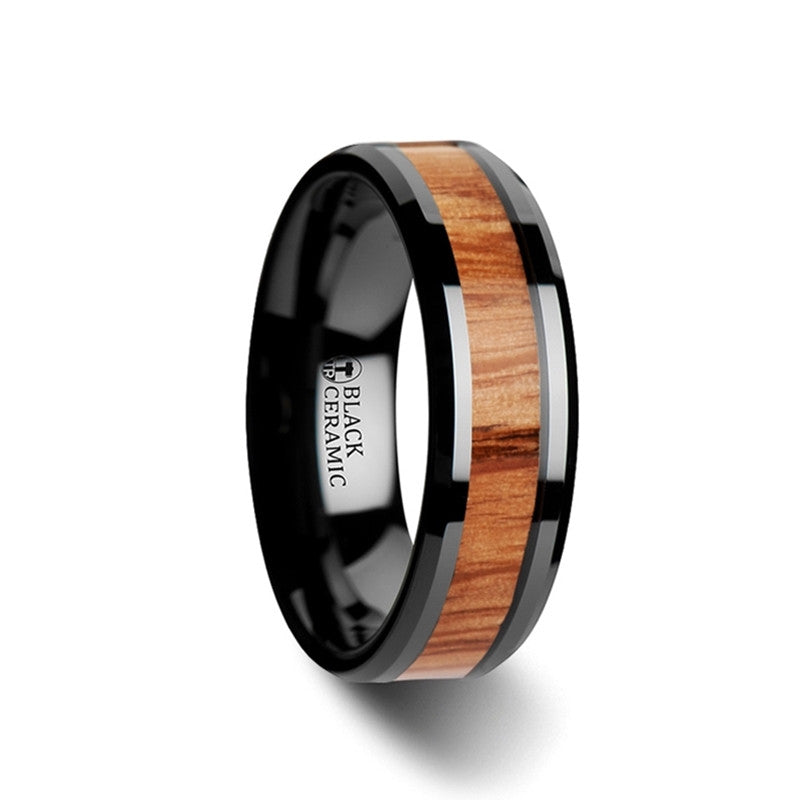 RUBEO | Black Ceramic Ring with Oak Wood Inlay | 6mm, 8mm & 10mm TCRings