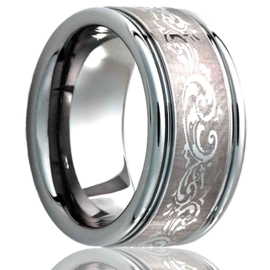 Men's tungsten wedding ring with laser pattern finish