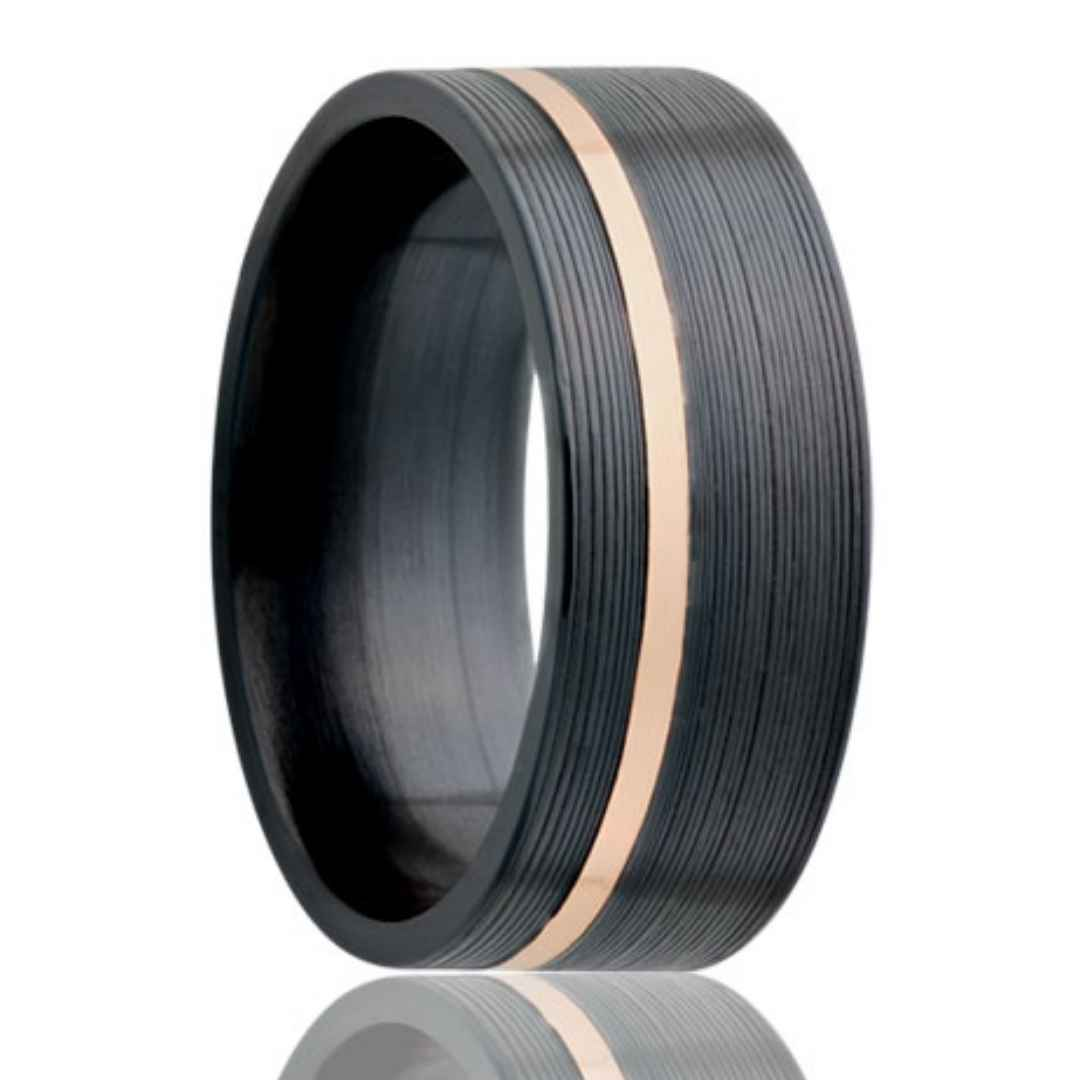 Black Zirconium Wedding Ring Rose Gold Inlay