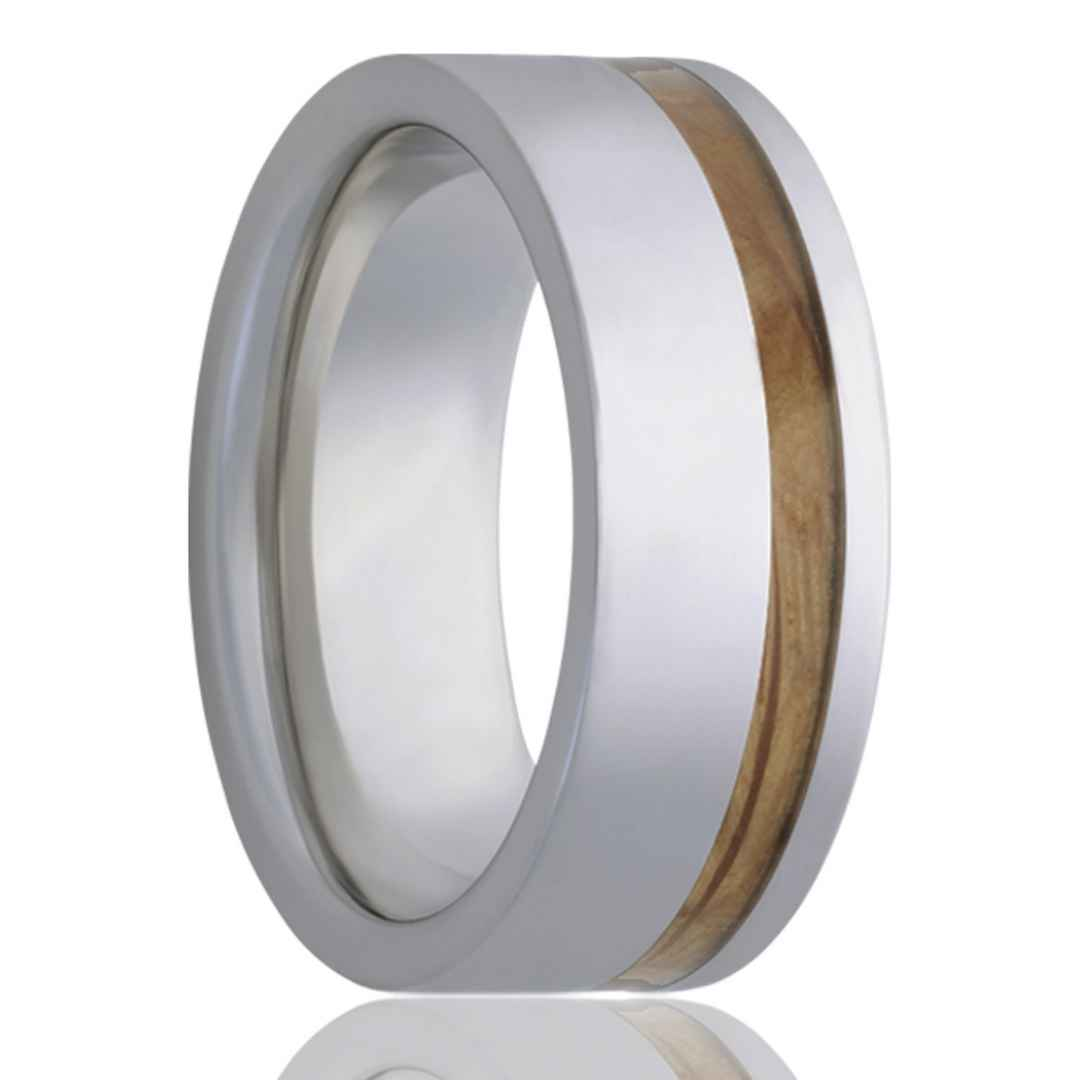 RYE | Men's Tungsten Wedding Band | Whiskey Barrel Wood Inlay | 8mm