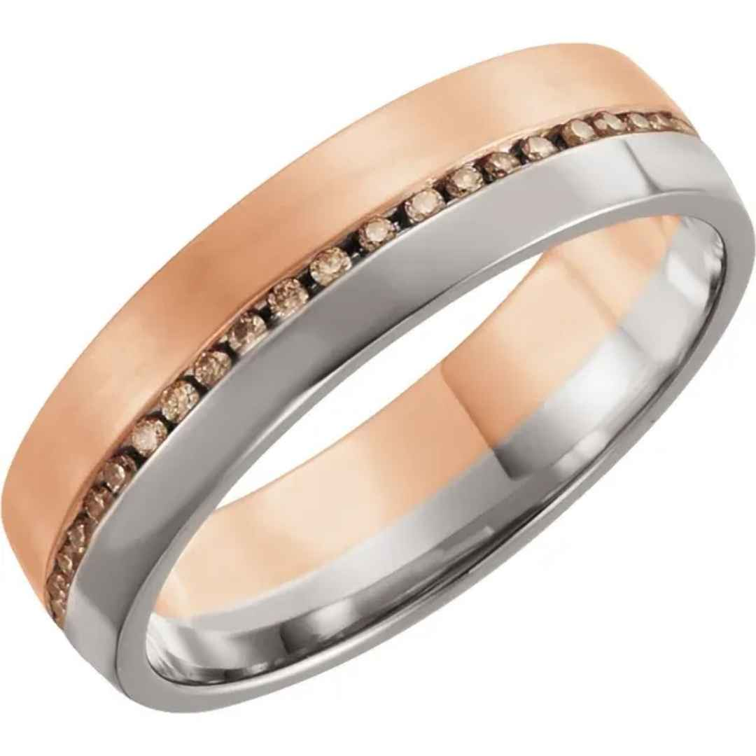 Men's 14K gold cognac diamond wedding ring