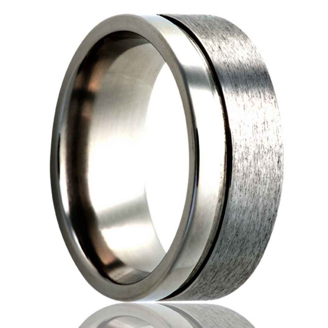 Men's titanium wedding ring