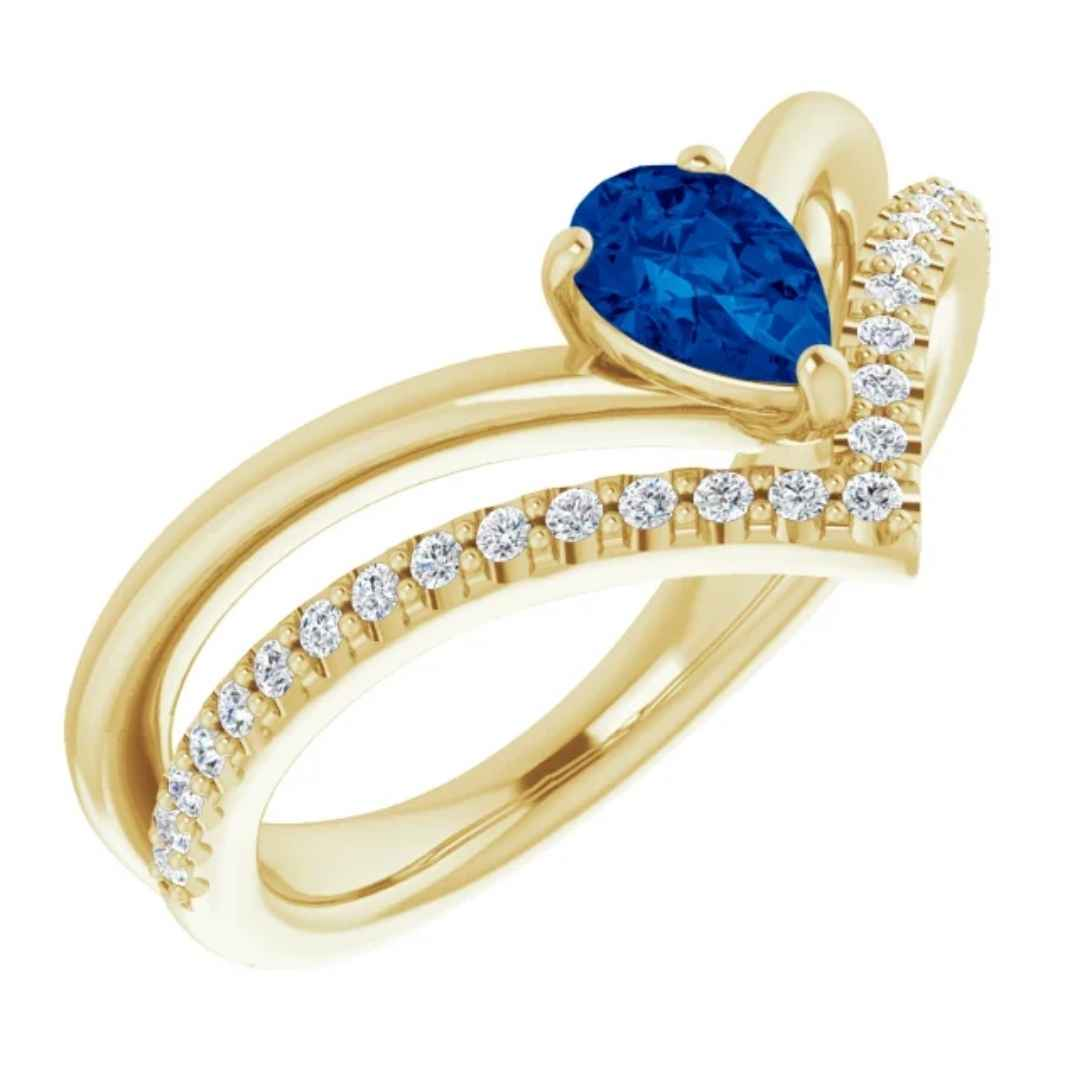 Women's blue sapphire engagement ring