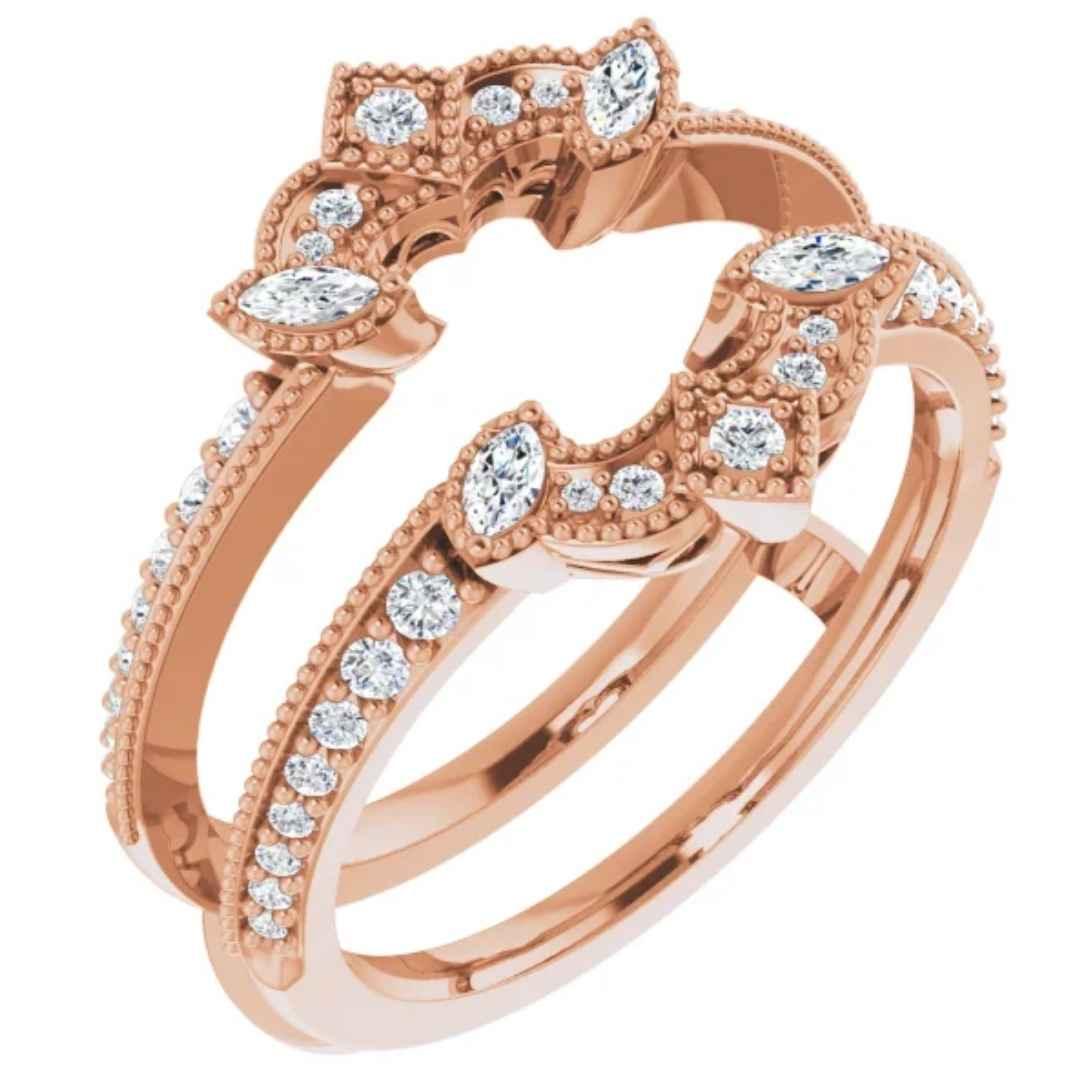 Women's 14k rose gold  & diamond ring guard
