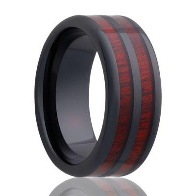 Black Ceramic Wedding Ring Bloodwood Inlays