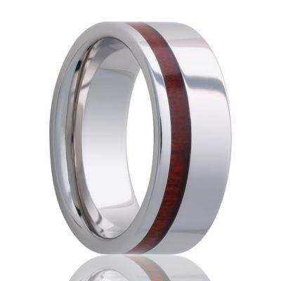 Cobalt Wedding Band with Bloodwood Inlay