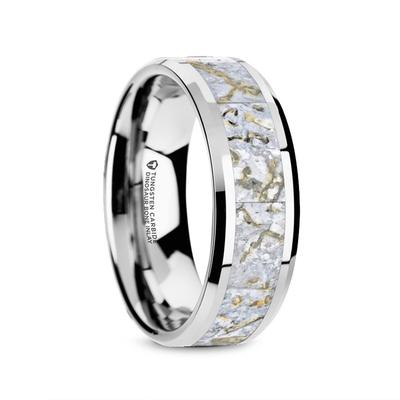 SAURUS | Tungsten Wedding Ring | White Dinosaur Bone Inlay | 4mm & 8mm