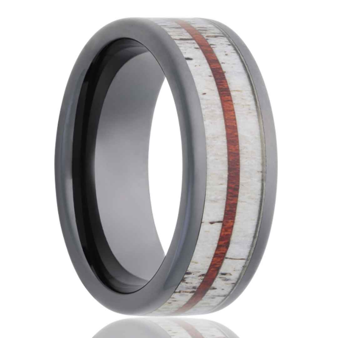Men's black diamond ceramic with deer antler and blood wood inlay wedding ring