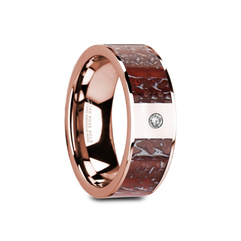 SEELEY    Flat Polished 14K Rose Gold Red Dinosaur Bone Inlay with White Diamond Setting    |    8mm - TCRings.com