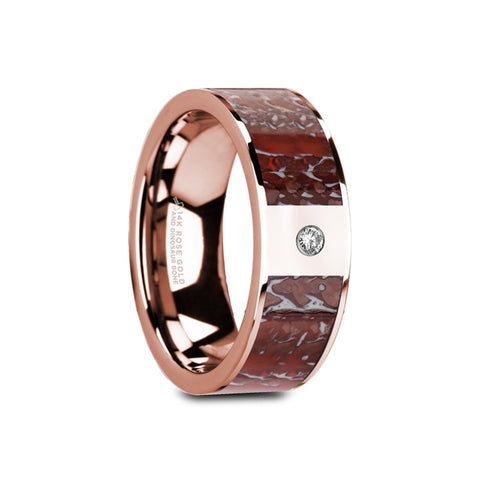 SEELEY    Flat Polished 14K Rose Gold Red Dinosaur Bone Inlay with White Diamond Setting    |    8mm