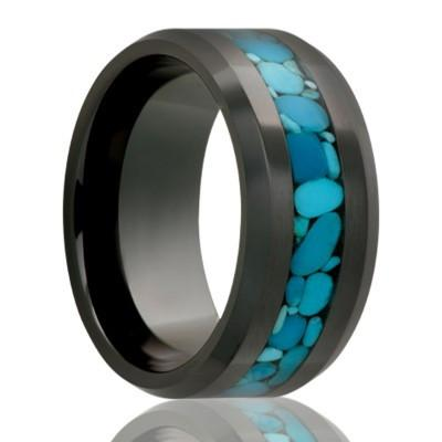 Men's Black Wedding Band with Turquoise Inlay
