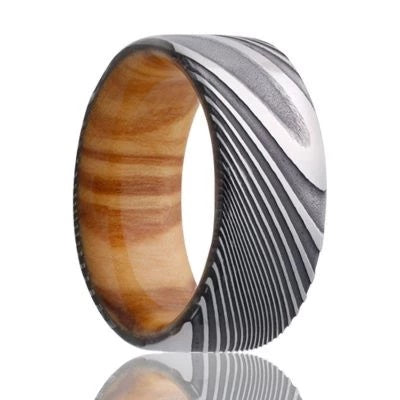 SHEMEN | Unique Wedding Band | Damascus Steel | Olive Wood Liner | 8mm