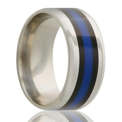 Men's Titanium Ring with Inlay