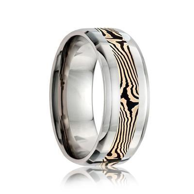 Men's Cobalt Wedding Ring with Mokume Inlay