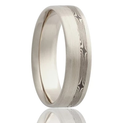 SHOGUN | 14K White Gold Wedding Band | Mokume Inlay | Sterling Silver, Shakudo | 6mm