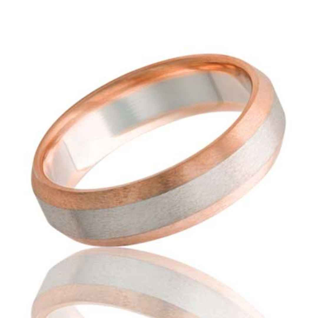Women's Wedding Band White Gold Rose Gold Edges