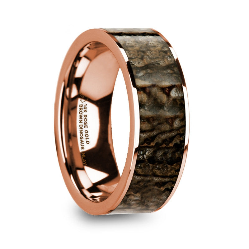 SINCLAIR | Brown Dinosaur Bone Inlay | 14k Rose Gold Wedding Band | 8mm - TCRings.com