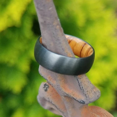 Men's Black Wedding Ring with Olive Wood