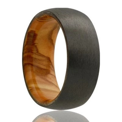 Men's Black Wedding Band with Olive Wood