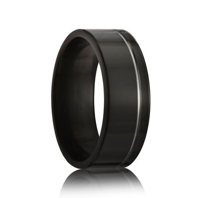 Men's Black Zirconium Wedding Band