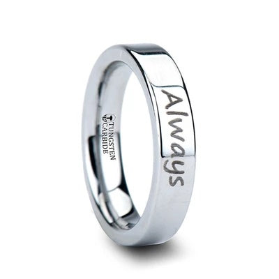 Tungsten Wedding Band Personal Engraving