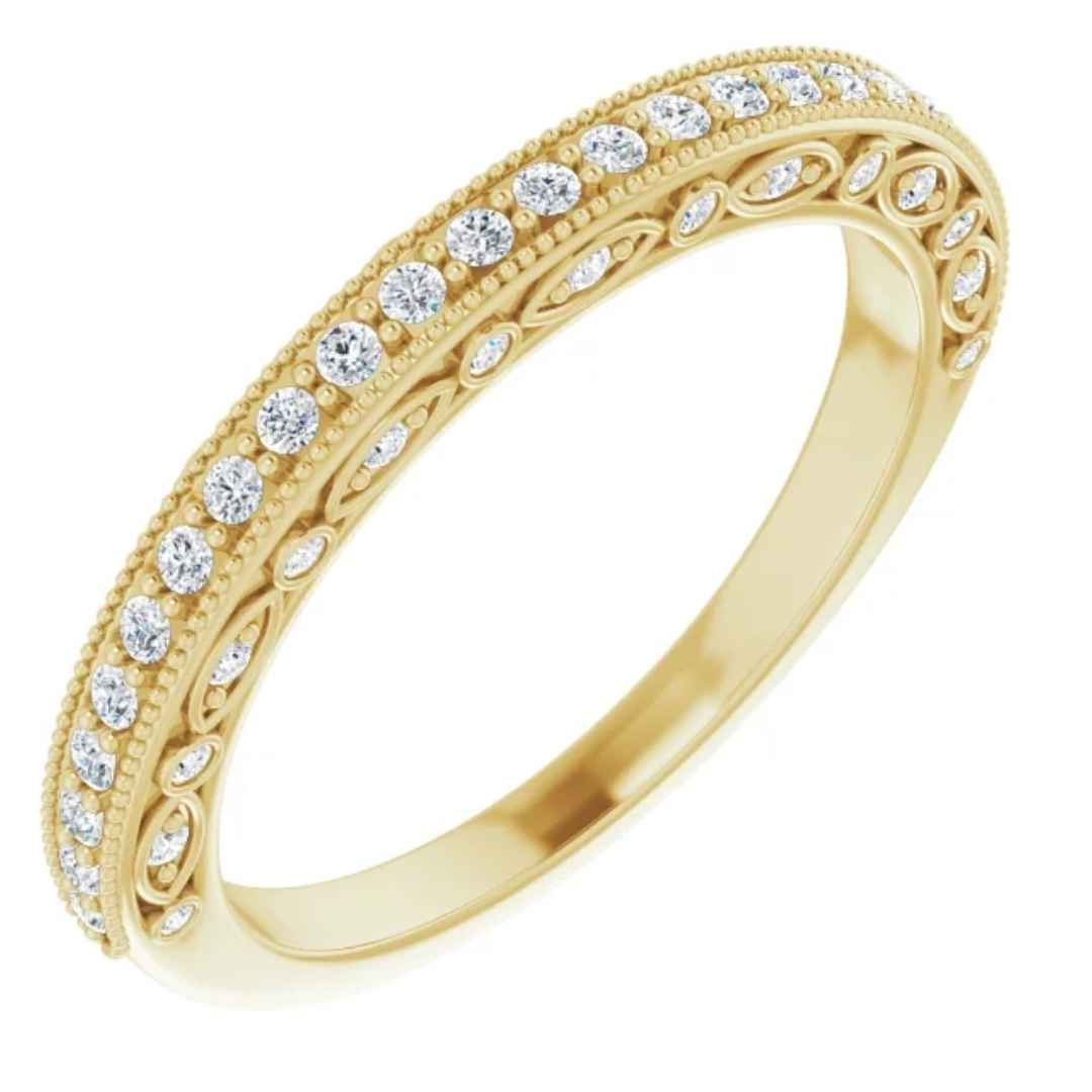 Women's 14K yellow gold vintage inspired diamond wedding ring