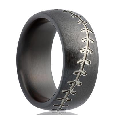 Men's Black Zirconium Ring with Baseball Stitch Pattern