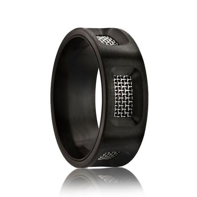 STUDIO | Men's Unique Black Wedding Ring | Black Zirconium with Mesh Inserts | 8mm