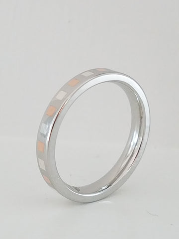 SUNSET    Flat Cobalt Band with Alternating Inlays of 14k Rose Gold & Argentium Silver    |    3mm