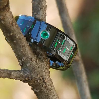 Black Ceramic Wedding Ring Emerald