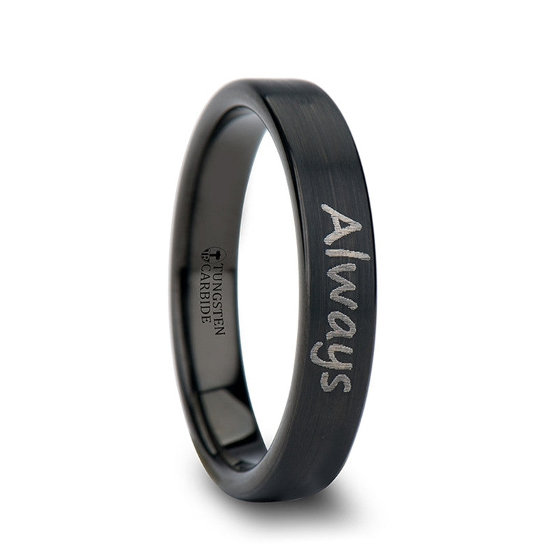 SCRIPT    Handwritten Engraved Flat Pipe Cut Black Tungsten Ring Brushed    |    4mm, 6mm, 8mm, 10mm &12mm - TCRings.com