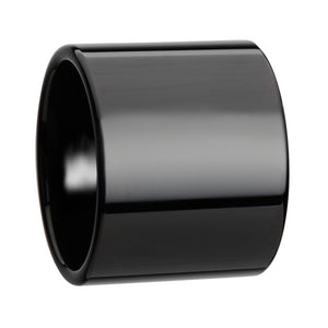 SHANE Black Flat Pipe Cut Tungsten Carbide Ring with Polished Finish   20 mm