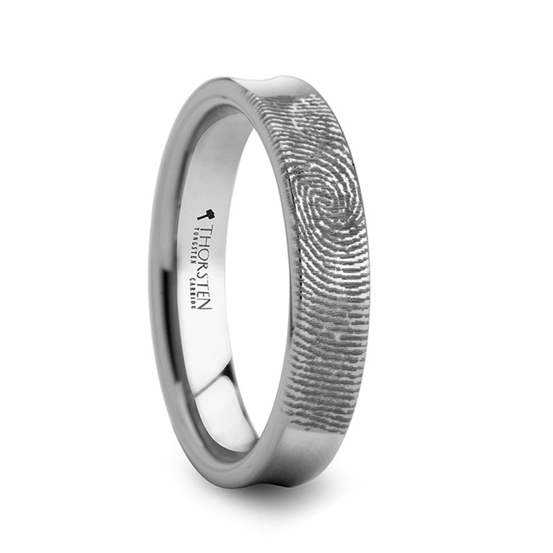 SOUL  Fingerprint Engraved Concave Tungsten Ring Polished  4mm, 6mm & 8mm