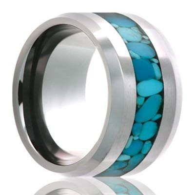Women's Wedding Band with Turquoise Inlay