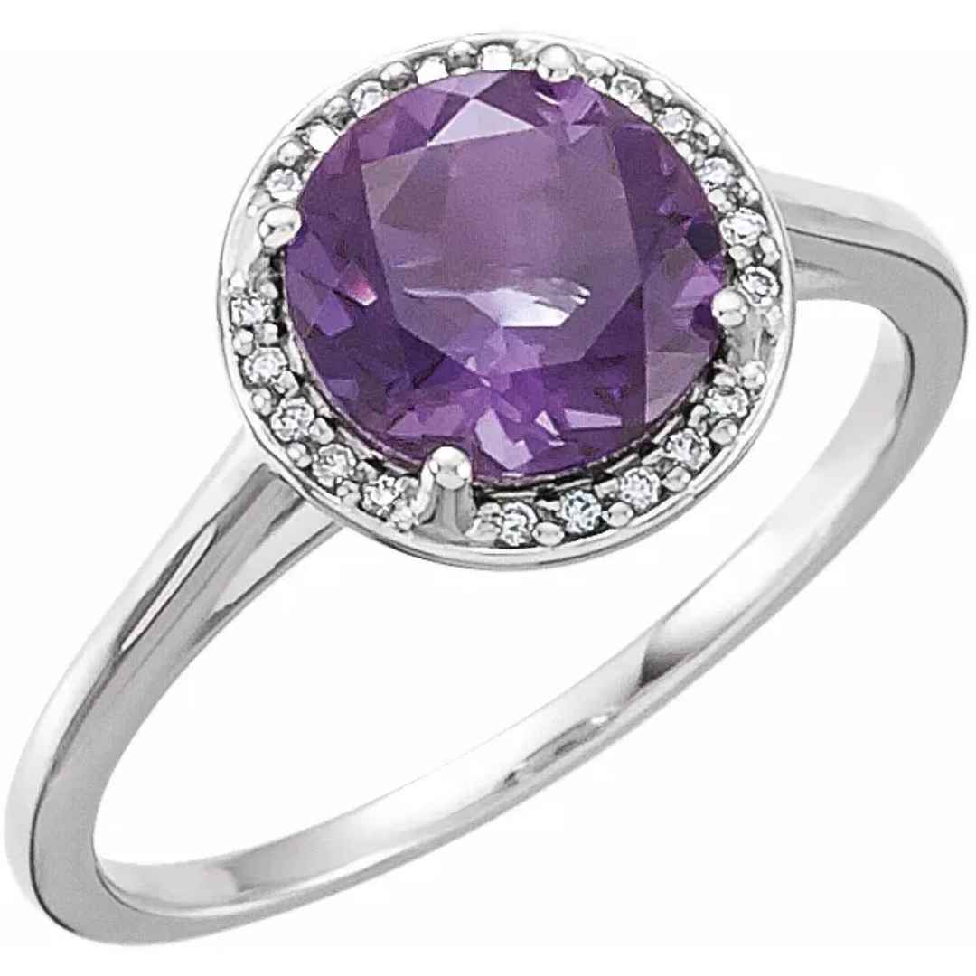 Women's amethyst halo engagement ring
