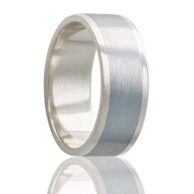 Men's White Gold Wedding Band | Cobalt Inlay