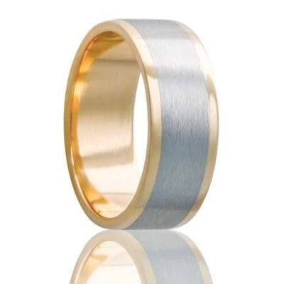 Men's Yellow Gold Wedding Band | Cobalt Inlay