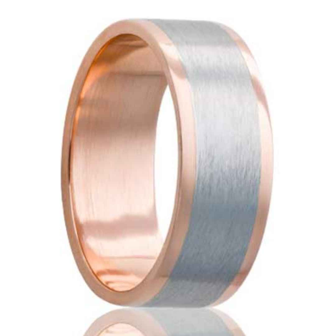 Men's Rose Gold Wedding Band | Cobalt Inlay