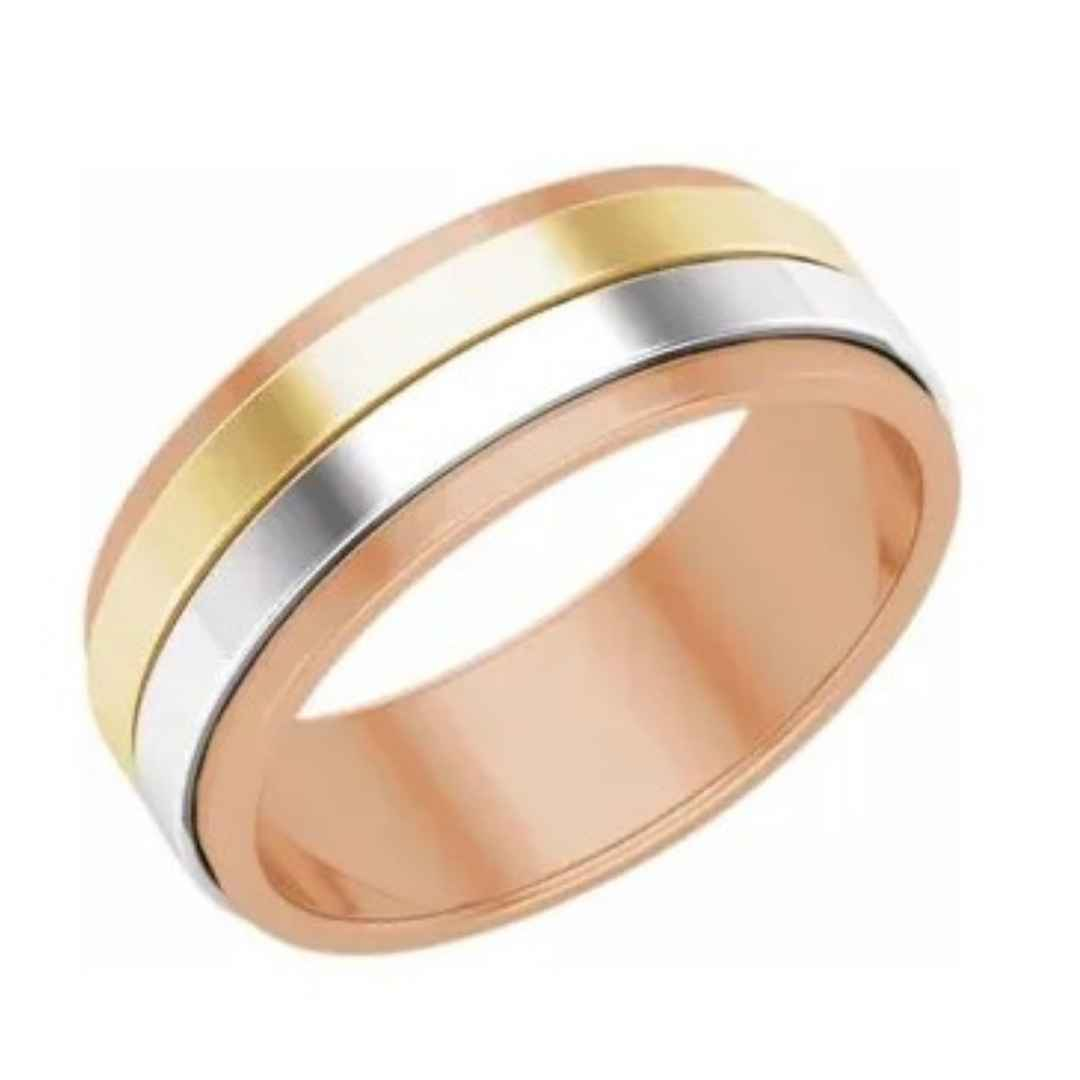 Men's 14K rose, white, and yellow gold wedding ring