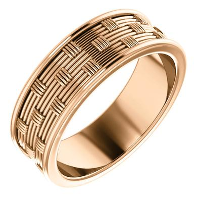 Rose Gold Wedding Ring Basket Weave Pattern