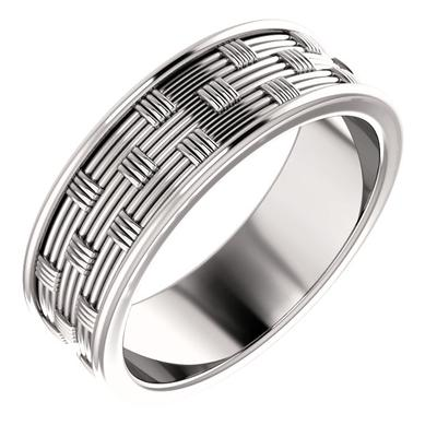 White Gold Wedding Ring Basket Weave Pattern