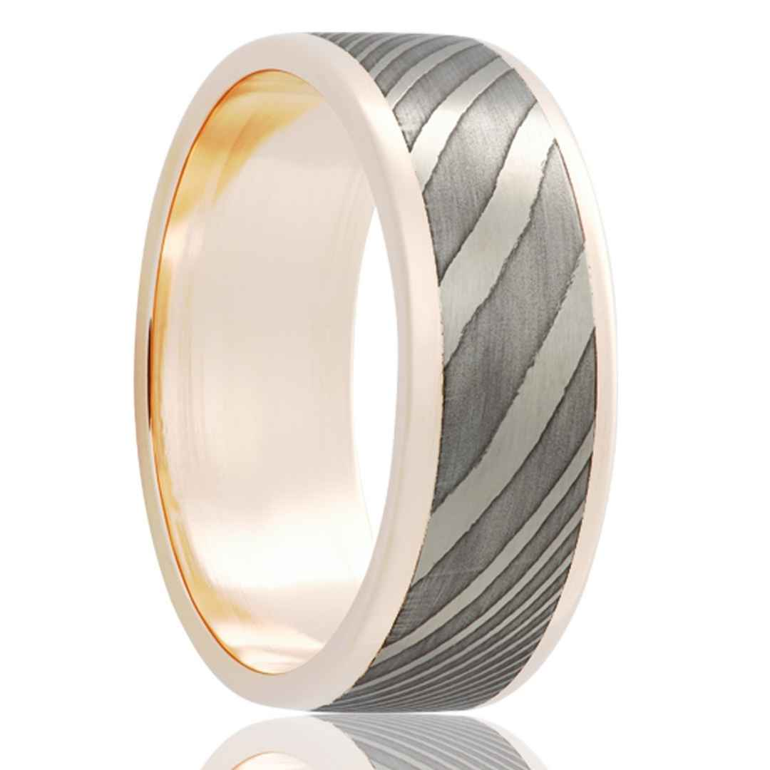 Gold Wedding Band with Damascus Steel Inlay White