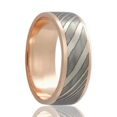 Gold Wedding Band with Damascus Steel Inlay Rose