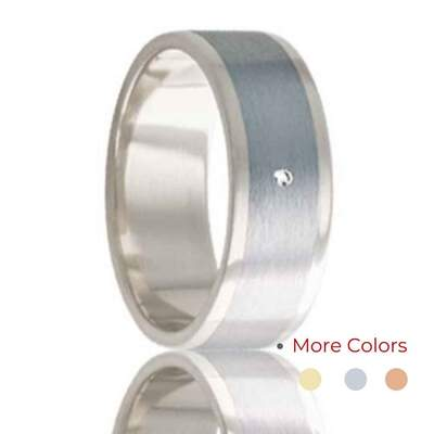 Men's White Gold Wedding Band Cobalt Inlay with Diamond