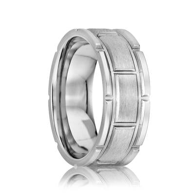 Men's Wedding Ring Cobalt with Grooves